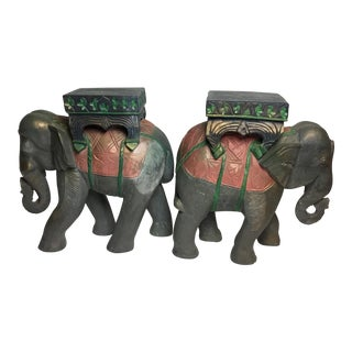 Elephant Carved Wood Garden Stool Tables - a Pair