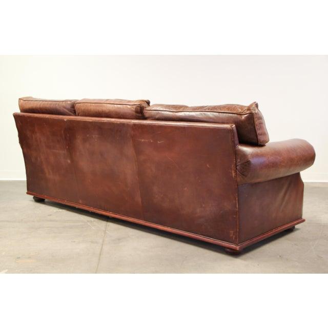 Animal Skin Vintage Ralph Lauren Leather Floating Sofa For Sale - Image 7 of 13