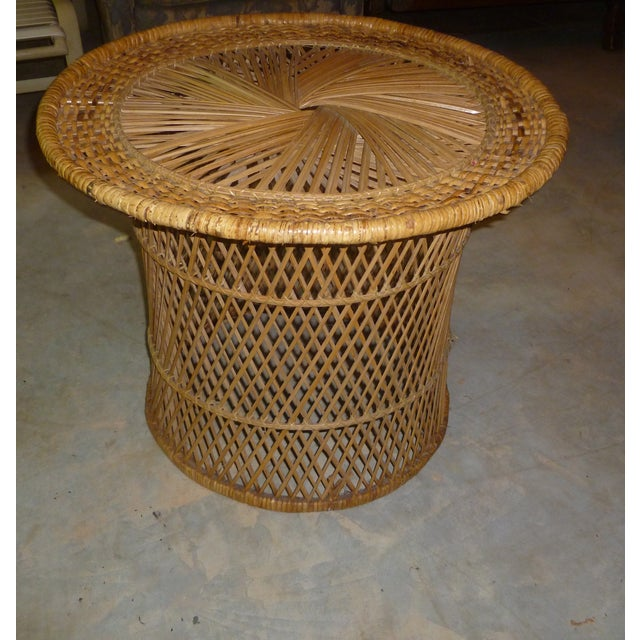 MCM Rattan Wicker Woven Round Side Table - Image 4 of 11
