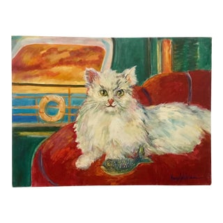"""""""Gotcha"""" Mid-Century Oil Painting by Nancy Wheeler For Sale"""