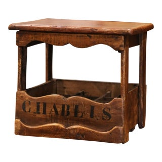 """Old French Walnut Nine Wine Bottle Cabinet With """"Chablis"""" Inscription For Sale"""