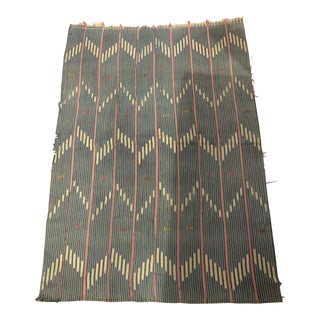 Blue Textile With White Zigzag Pattern For Sale