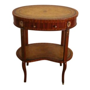 Maitland Smith Mahogany Leather Top Lamp Table For Sale