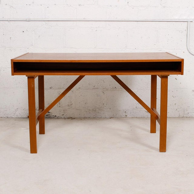 Danish Modern Compact Teak Two Drawer Desk - Image 5 of 6