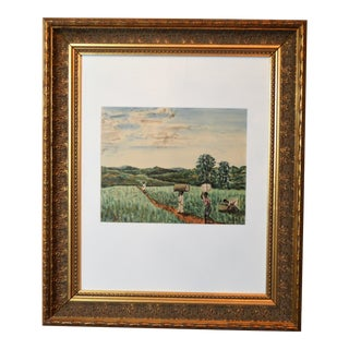 1950s Vintage J.P. Ludu Framed Watercolor Painting For Sale