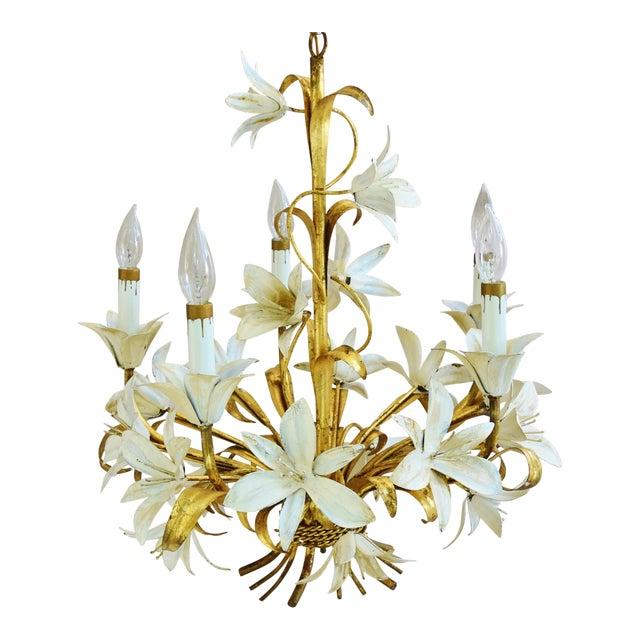 Vintage Five-Arm/Light Italian Gold Gilt Lily Tole Chandelier - Image 1 of 11