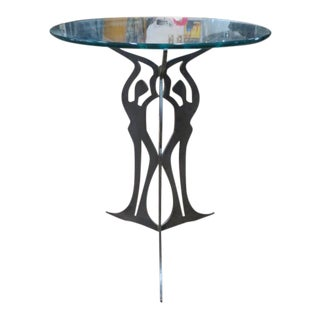 Vintage Figural Iron Base Side Table With Glass Top For Sale