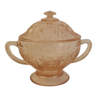 1935 Federal Glass Pink Sharon Lidded Sugar Bowl For Sale