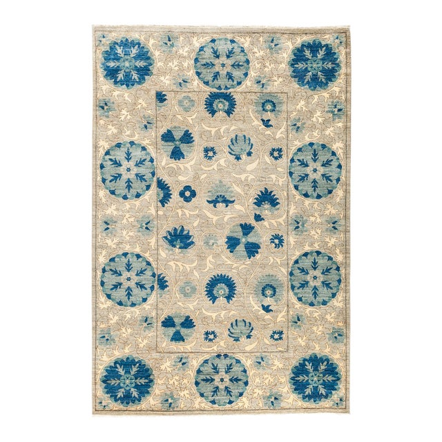 """Persian Suzani Style Blue Hand-Knotted Wool Rug- 5' 3"""" X 7' 9"""" For Sale - Image 4 of 4"""