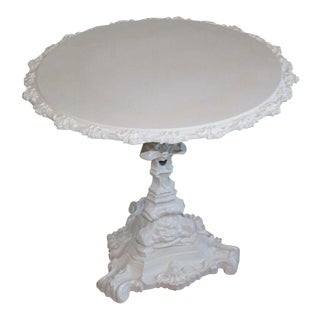 Round Tilt Top White Cast Iron Table For Sale