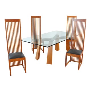 Cassina Italian Glass Top Dining Table With Four Chairs - 5 Pieces For Sale