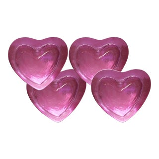 Annie Glass Heart-Shaped Bowls - Set of 4 For Sale