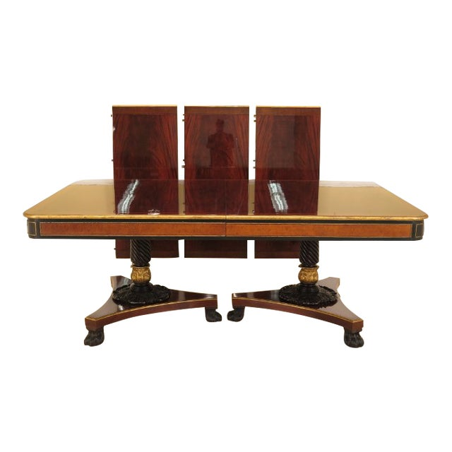 1990s Vintage Baker Furniture Company Regency Style Mahogany Dining Table For Sale