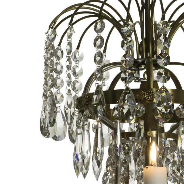 Classic Swedish Crystal Chandelier For Sale - Image 4 of 7