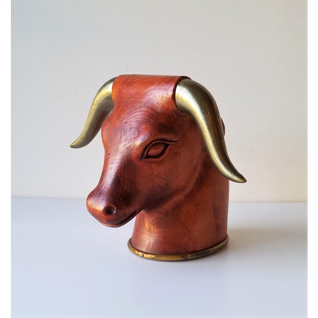 Vintage 1960's Italian carved wood bull's head with operable brass horns. This piece is a fun statement piece by having...