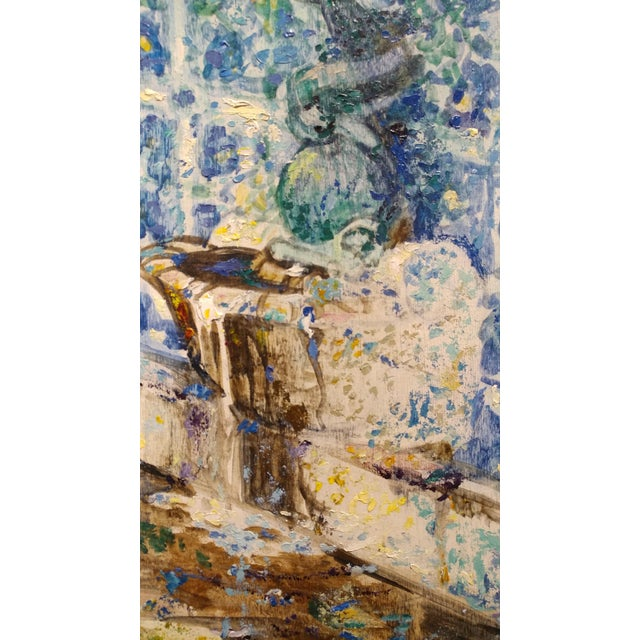 1940s Douglass Parshall - Tiled Fountain -Oil Painting - California Impressionist For Sale - Image 5 of 10