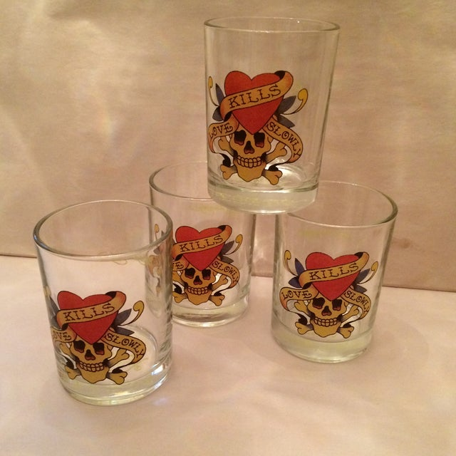 """Ed Hardy """"Love Kills Slowly"""" Lo-Ball Glasses - Set of 4 For Sale In Sacramento - Image 6 of 11"""