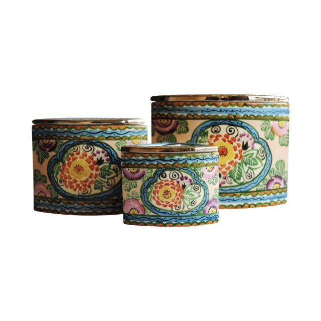 Vintage Handpainted Ceramic Canisters, Set of 3 - Image 1 of 4