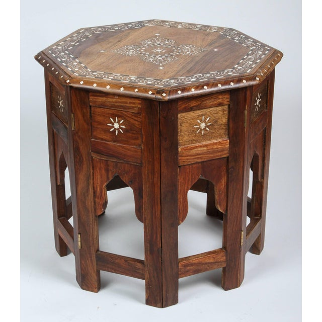 Brown Anglo Indian Bone Inlaid Octagonal Side Table For Sale - Image 8 of 8