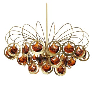Italian Brass and Glass Chandelier in the Style of Sciolari For Sale