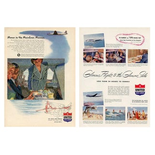 Vintage United Airlines Advertisements - a Pair For Sale