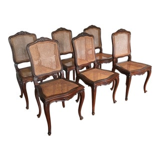 6 Antique French Louis XV Style Caned Chairs For Sale