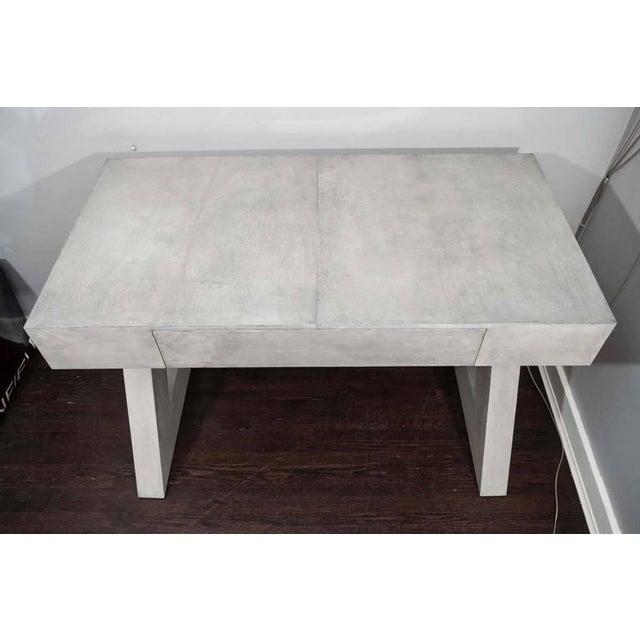 2010s Custom Storm Gray Parchment Z Desk For Sale - Image 5 of 7