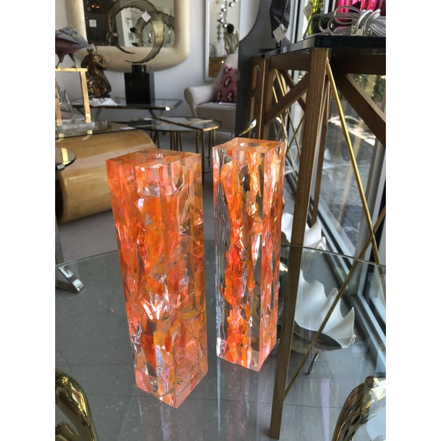 Pair of Vintage Orange Resin Candlesticks Signed N M For Sale In West Palm - Image 6 of 11