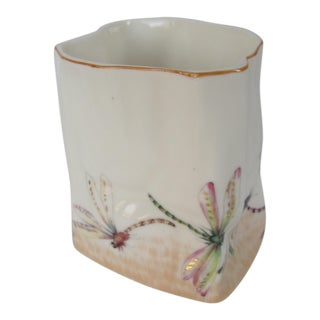 French Aesthetic Transferware Dragonfly Pencil Cup For Sale