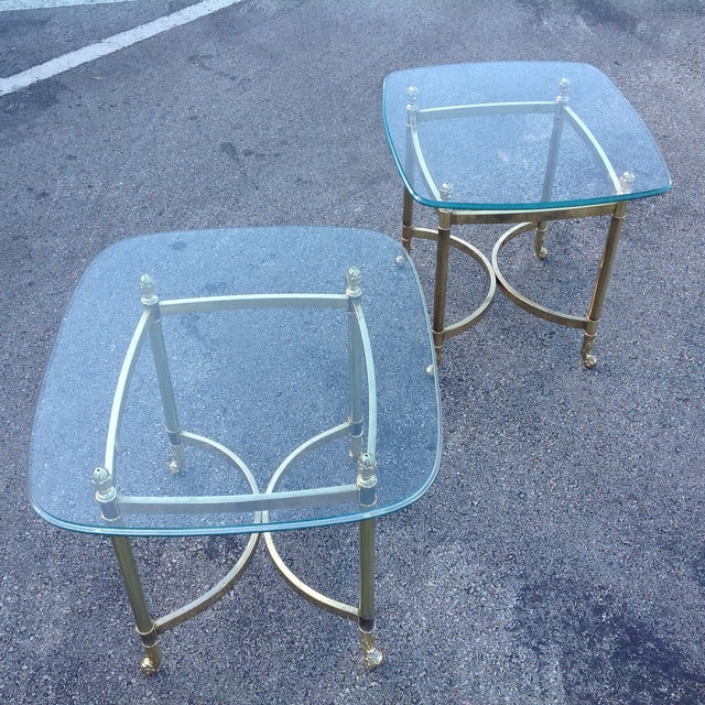 Brass La Barge Hollywood Regency Side Tables a Pair - Image 3 of 6