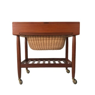 Danish Teak & Rattan Lift Top Sewing Cart/Table with Wheels, Ejvind A. Johansson