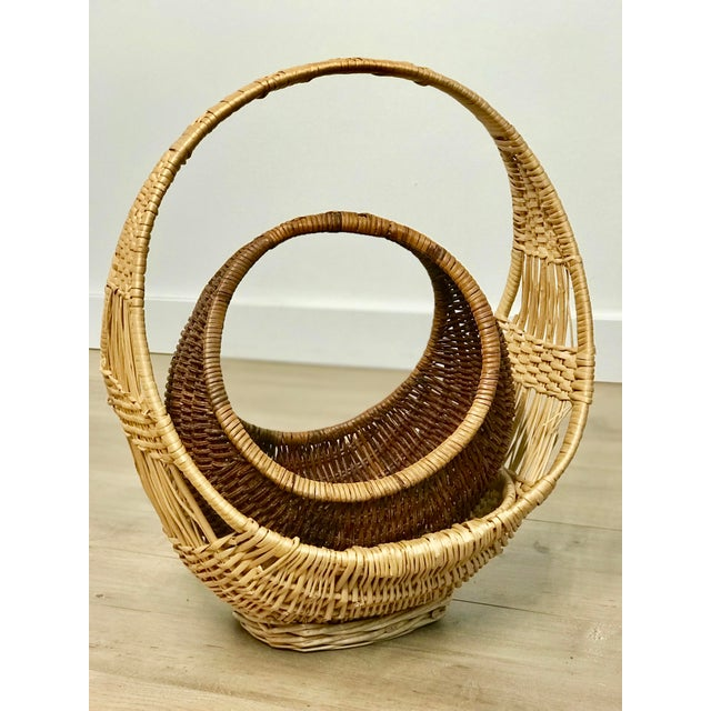 Nesting Gondola Woven Wicker Rattan Baskets - a Pair For Sale - Image 12 of 12