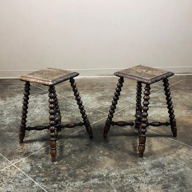 Pair 19th Century Hand Carved Spool Leg Stools are just the thing for accent seating, footstools, or even lamp tables with...