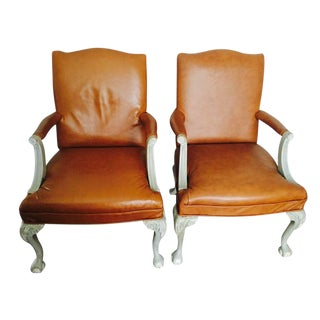 Italian Leather Armchairs with Shabby Chic Frame - A Pair For Sale