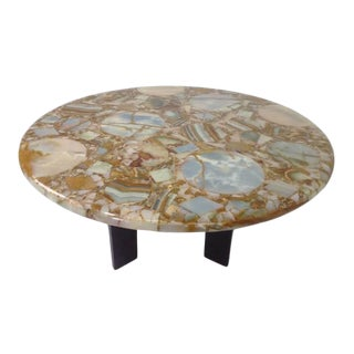 Modern Multi Color Onyx Top Center Table For Sale