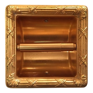 Sherle Wagner 22 Karat Gold Recessed Toilet Tissue Holder For Sale