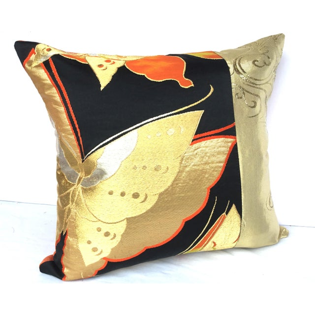 Vintgae Butterflies In Flight Japanese Obi Pillows - A Pair - Image 4 of 7