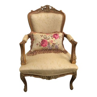 Handmade French Style Gilded Chair For Sale