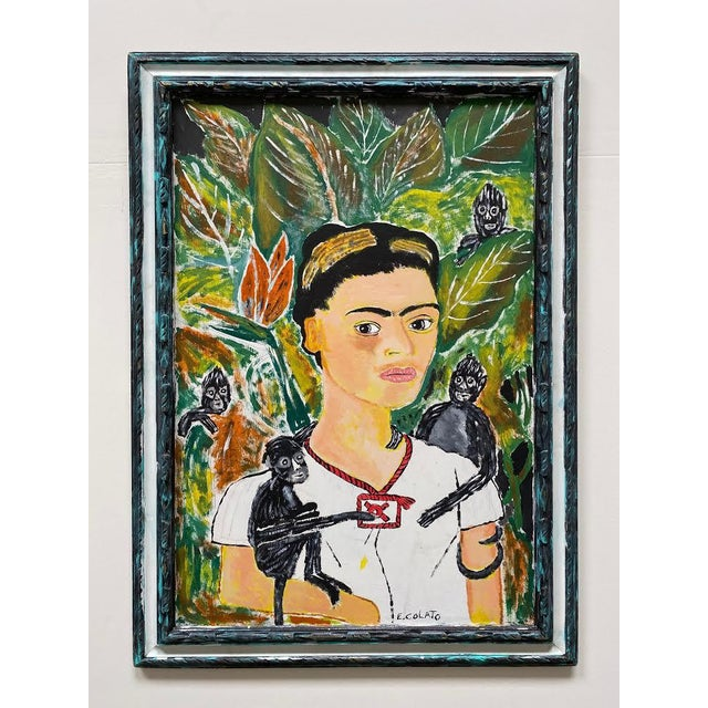 Wood 1970s Portrait Painting of Frida Kahlo with Monkeys Signed E. Colato, Framed For Sale - Image 7 of 7