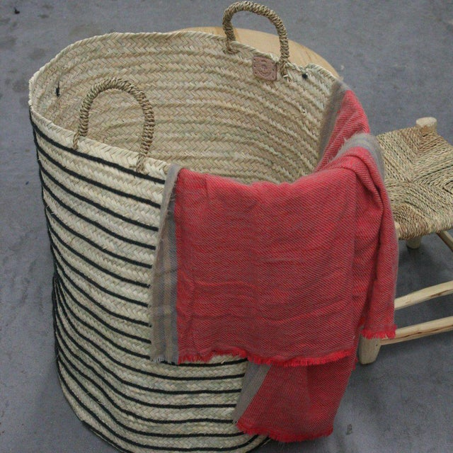 This beautiful basket is hand-woven with cotton and straw by local artisans in Morocco. Product Information Size: approx....