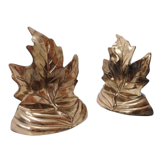 Vintage Gold Maple Leaf Bookends ~ a Pair For Sale