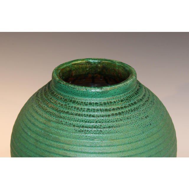 Dark Green Large Merrimac Pottery Vase Antique Matt Green American Arts & Crafts For Sale - Image 8 of 10
