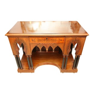 1890's Antique Gothic Style Vanity, Console Table