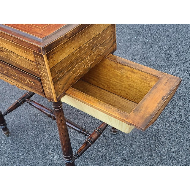 Wood Antique English Regency Inlaid Rosewood 19th Century Sewing Work Table C1890 For Sale - Image 7 of 13