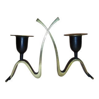 1950s Richard Rohac Modernist Bronze Austrian Candlesticks - a Pair For Sale