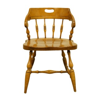 Late 20th Century Drexel Heritage Solid Hard Rock Maple Colonial Style Dining Chair For Sale