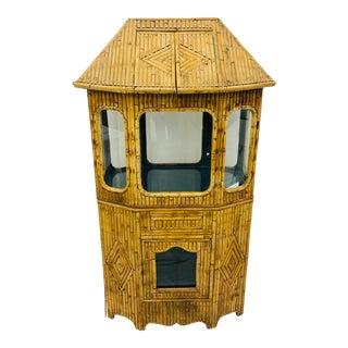 Antique Split Bamboo Curiosity Cabinet Display Case For Sale