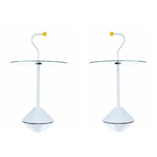 Pair Memphis White Enamel and Glass Side Tables With Handles For Sale - Image 4 of 7