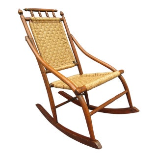 Antique Rocking Chair With Macrame Seat and Backrest