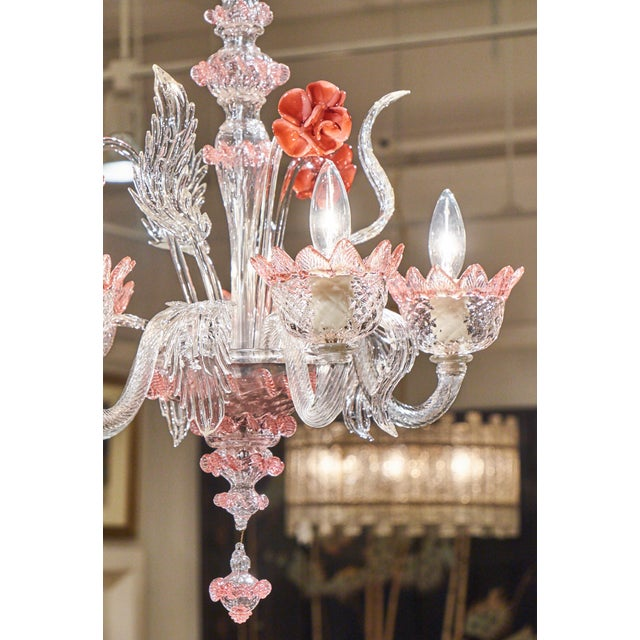 Murano Pink Rose and Crystal Glass Chandelier - Image 8 of 10